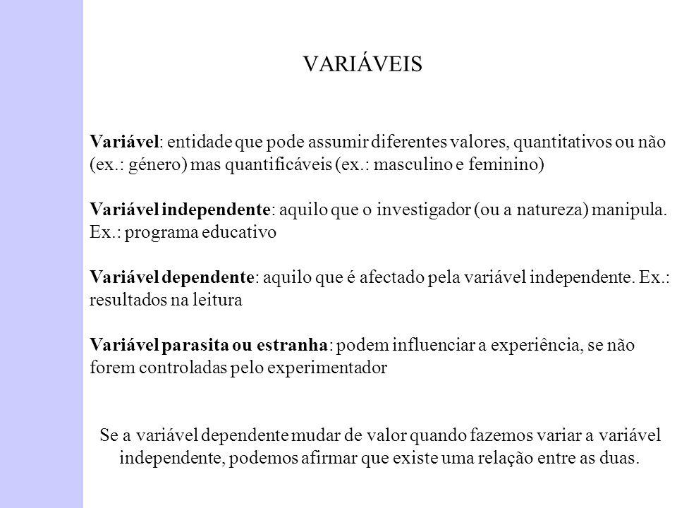 VARIÁVEIS Variável: entidade que pode assumir diferentes valores, quantitativos ou não (ex.: género) mas quantificáveis (ex.: masculino e feminino) Va
