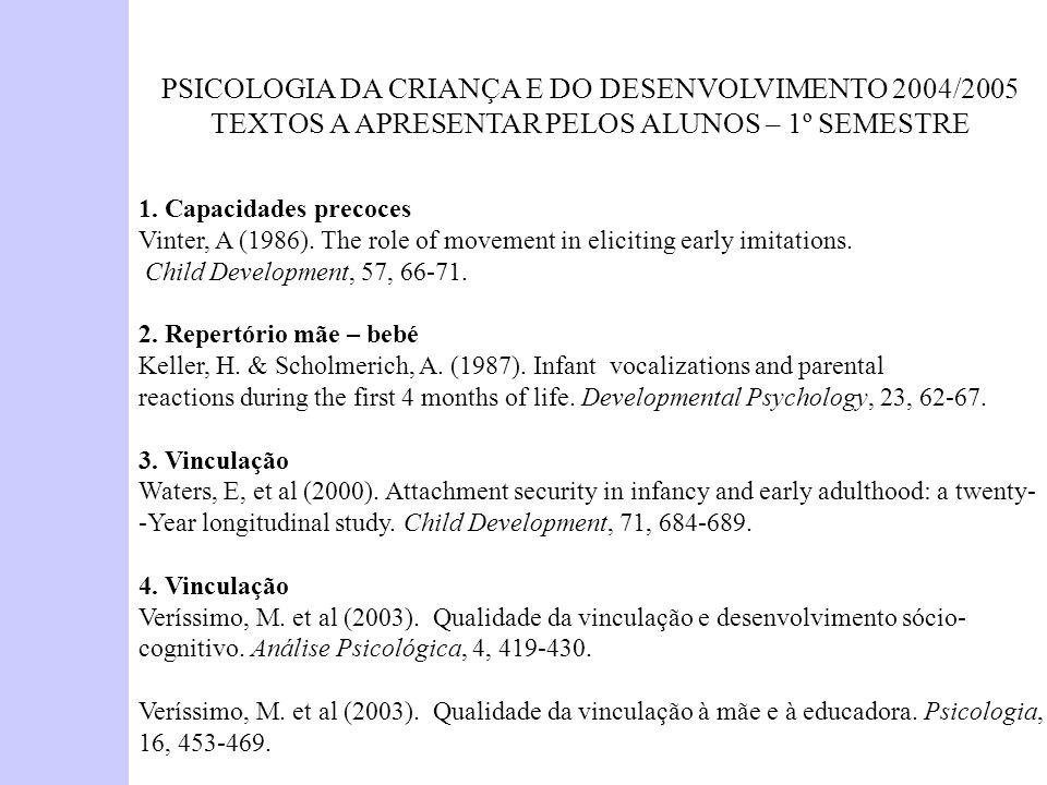 PSICOLOGIA DA CRIANÇA E DO DESENVOLVIMENTO 2004/2005 TEXTOS A APRESENTAR PELOS ALUNOS – 1º SEMESTRE 1. Capacidades precoces Vinter, A (1986). The role