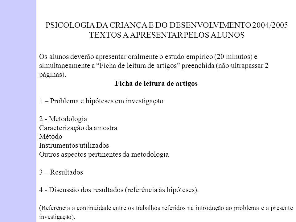 PSICOLOGIA DA CRIANÇA E DO DESENVOLVIMENTO 2004/2005 TEXTOS A APRESENTAR PELOS ALUNOS Os alunos deverão apresentar oralmente o estudo empírico (20 min