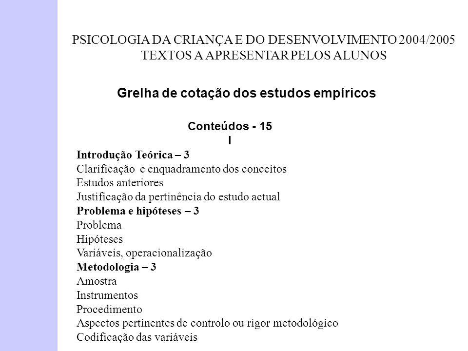 PSICOLOGIA DA CRIANÇA E DO DESENVOLVIMENTO 2004/2005 TEXTOS A APRESENTAR PELOS ALUNOS Grelha de cotação dos estudos empíricos Conteúdos - 15 I Introdu