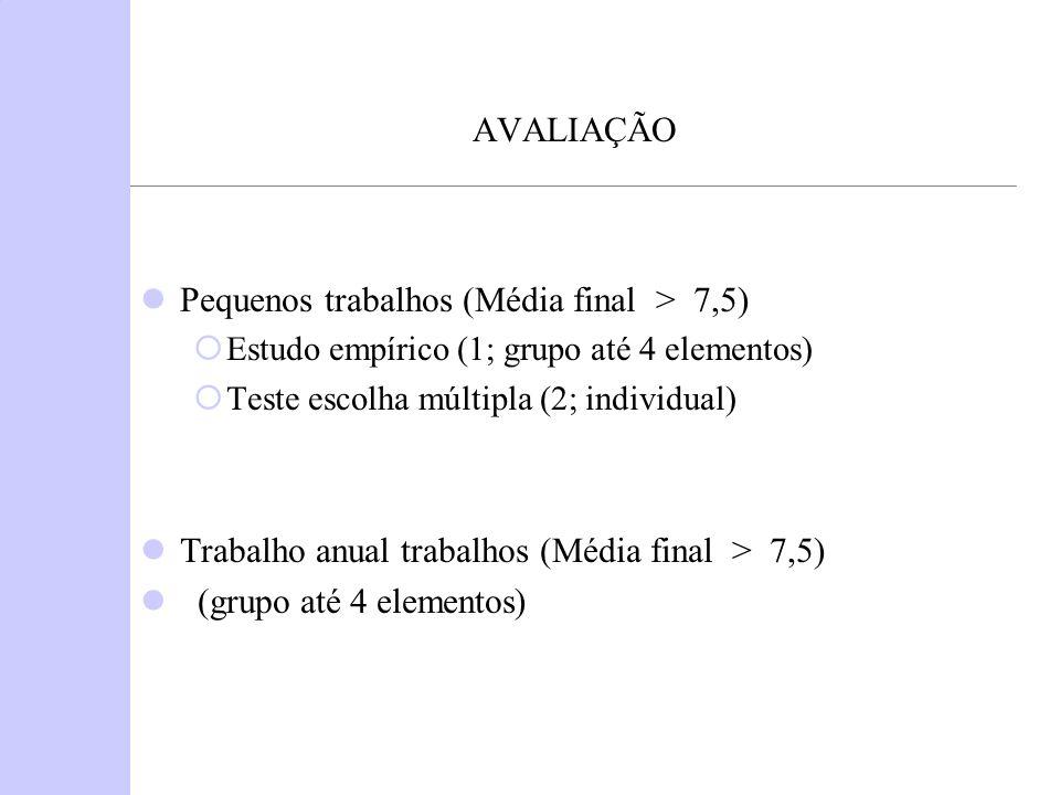 AVALIAÇÃO Pequenos trabalhos (Média final > 7,5) Estudo empírico (1; grupo até 4 elementos) Teste escolha múltipla (2; individual) Trabalho anual trabalhos (Média final > 7,5) (grupo até 4 elementos)