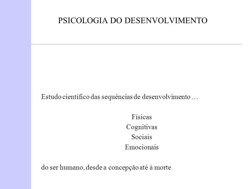 PSICOLOGIA DO DESENVOLVIMENTO Estudo científico das sequências de desenvolvimento … Físicas Cognitivas Sociais Emocionais do ser humano, desde a conce