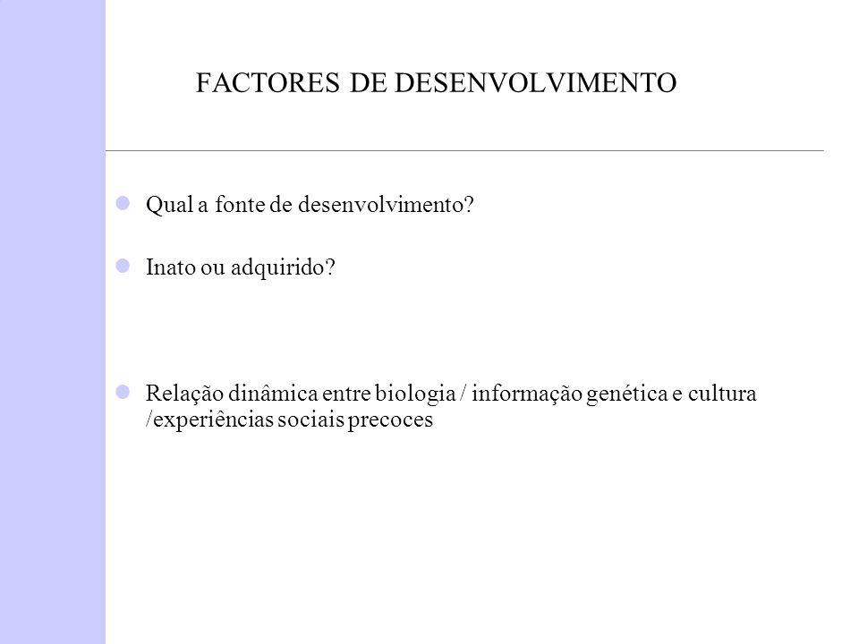 FACTORES DE DESENVOLVIMENTO Qual a fonte de desenvolvimento? Inato ou adquirido? Relação dinâmica entre biologia / informação genética e cultura /expe