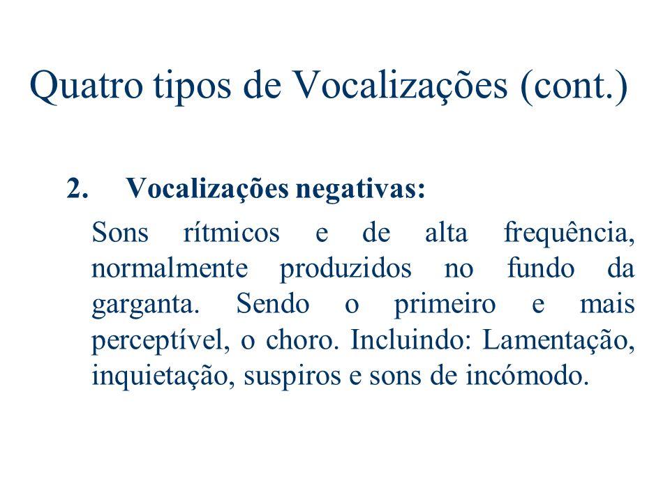 Quatro tipos de Vocalizações 1. Vocalizações fisiológicas: Alguns sons emocionais parecem ser subprodutos de respostas fisiológicas adaptáveis (normal