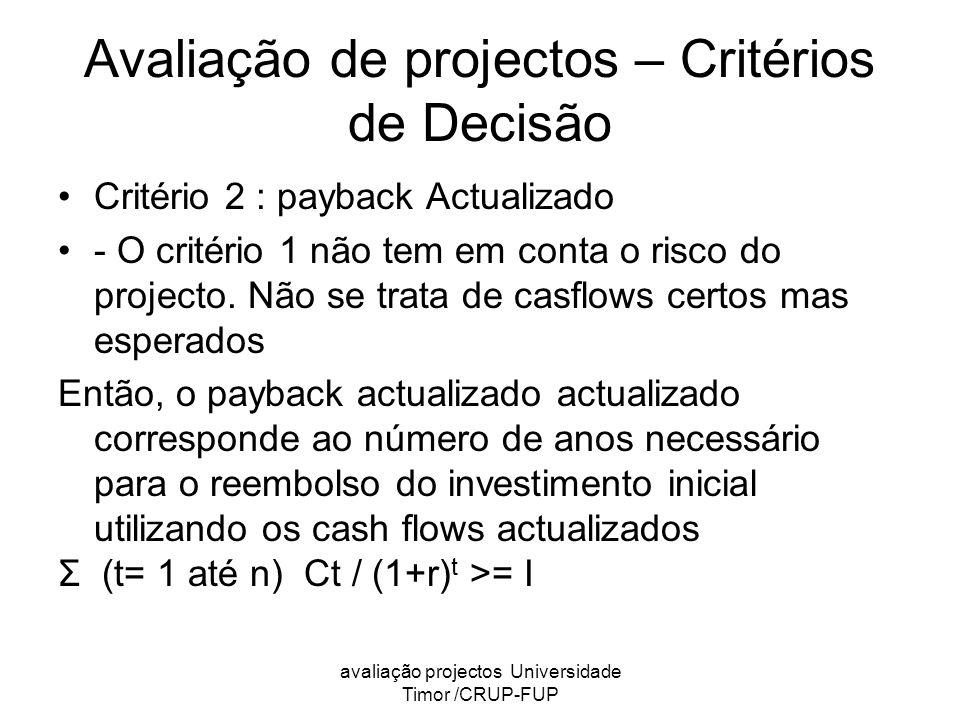 avaliação projectos Universidade Timor /CRUP-FUP Avaliação de projectos – Critérios de Decisão Critério 2 : payback Actualizado - O critério 1 não tem em conta o risco do projecto.