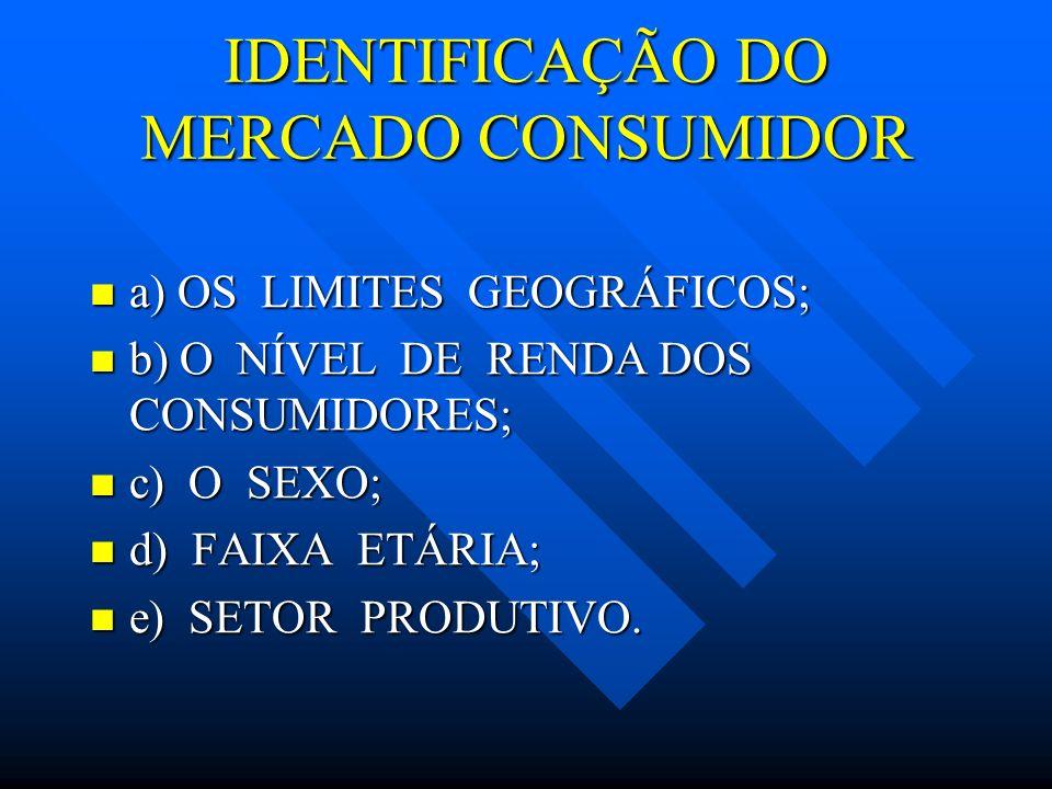 IDENTIFICAÇÃO DO MERCADO CONSUMIDOR a) OS LIMITES GEOGRÁFICOS; a) OS LIMITES GEOGRÁFICOS; b) O NÍVEL DE RENDA DOS CONSUMIDORES; b) O NÍVEL DE RENDA DO