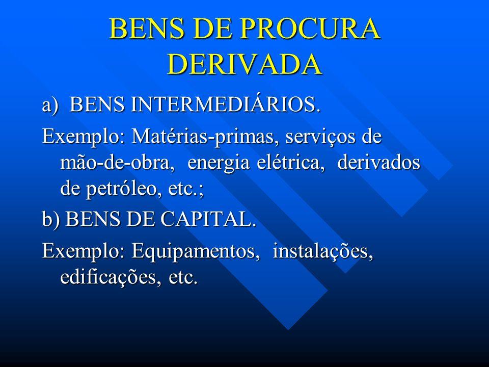 BENS DE PROCURA DERIVADA a) BENS INTERMEDIÁRIOS. Exemplo: Matérias-primas, serviços de mão-de-obra, energia elétrica, derivados de petróleo, etc.; b)
