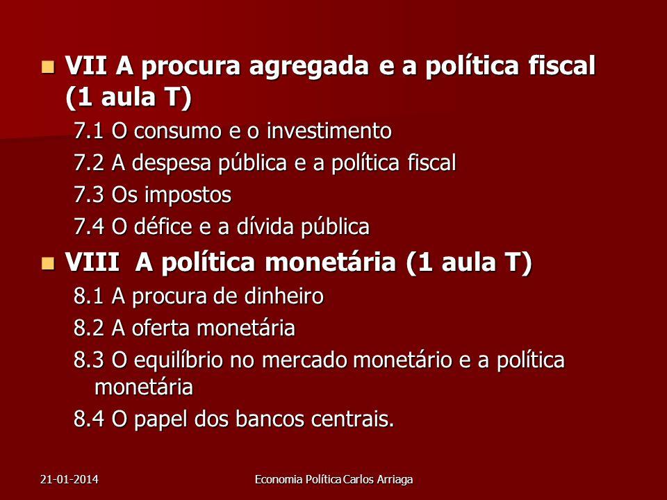 21-01-2014Economia Política Carlos Arriaga VII A procura agregada e a política fiscal (1 aula T) VII A procura agregada e a política fiscal (1 aula T)