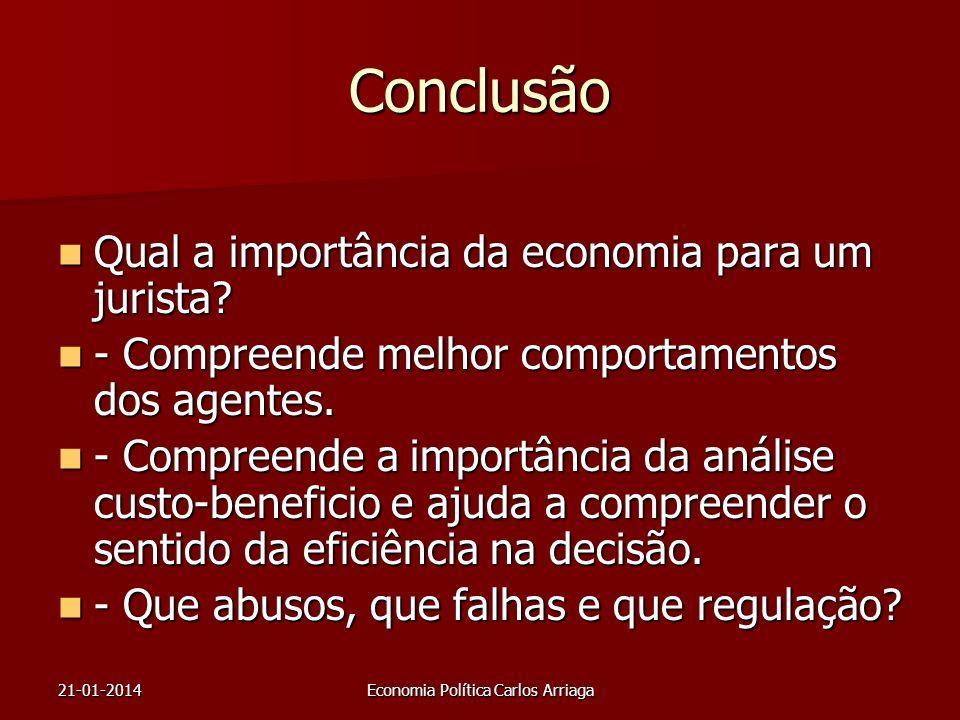 21-01-2014Economia Política Carlos Arriaga Conclusão Qual a importância da economia para um jurista? Qual a importância da economia para um jurista? -