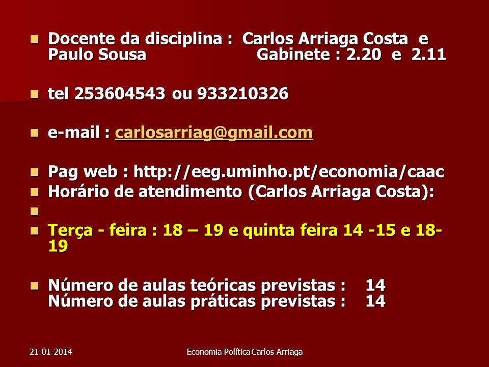21-01-2014Economia Política Carlos Arriaga Docente da disciplina : Carlos Arriaga Costa e Paulo Sousa Gabinete : 2.20 e 2.11 Docente da disciplina : C