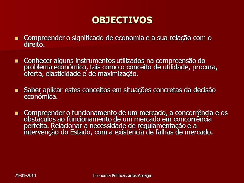 21-01-2014Economia Política Carlos Arriaga OBJECTIVOS Compreender o significado de economia e a sua relação com o direito. Compreender o significado d