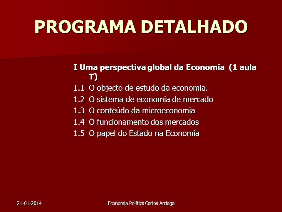 21-01-2014Economia Política Carlos Arriaga PROGRAMA DETALHADO I Uma perspectiva global da Economia (1 aula T) 1.1O objecto de estudo da economia. 1.2O