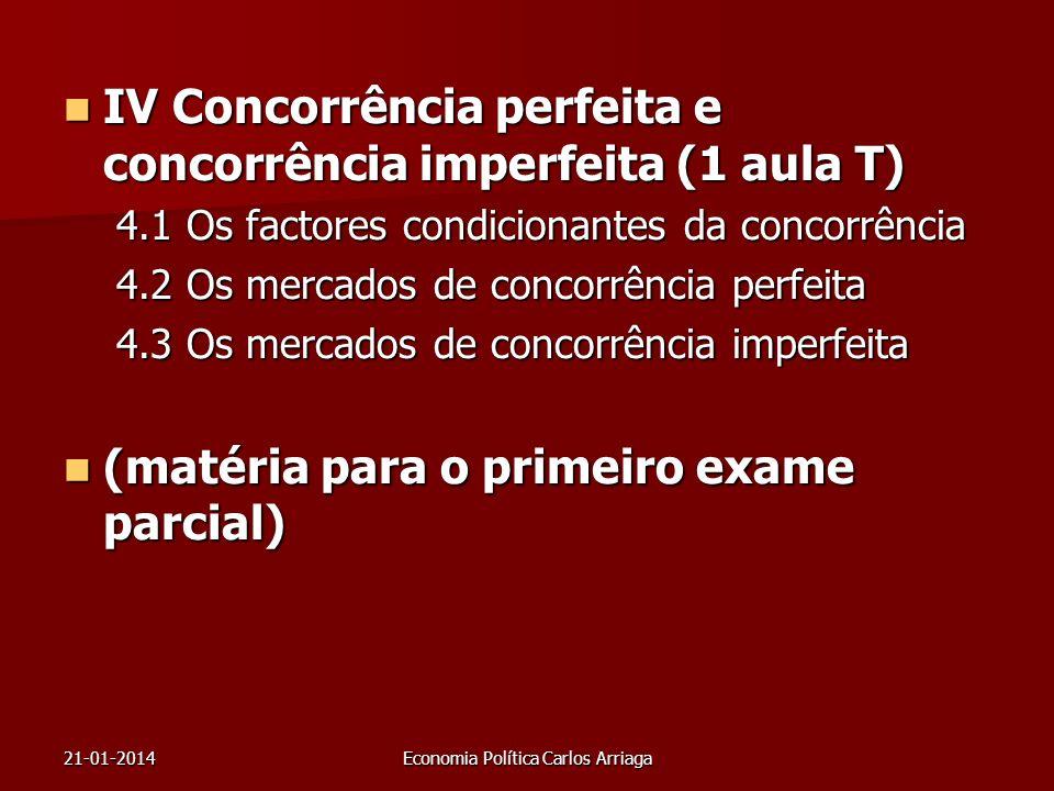 21-01-2014Economia Política Carlos Arriaga IV Concorrência perfeita e concorrência imperfeita (1 aula T) IV Concorrência perfeita e concorrência imper