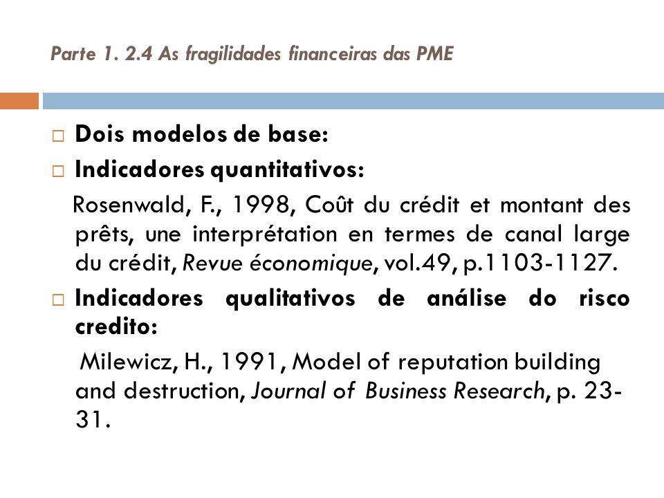 Parte 1. 2.4 As fragilidades financeiras das PME Dois modelos de base: Indicadores quantitativos: Rosenwald, F., 1998, Coût du crédit et montant des p