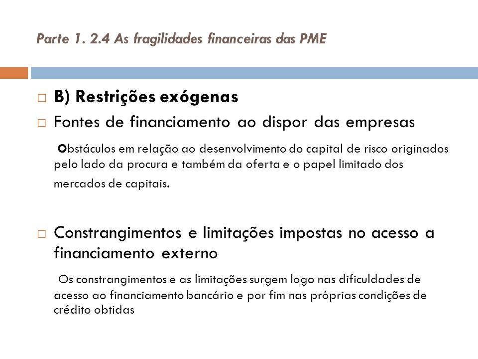 Parte 1. 2.4 As fragilidades financeiras das PME B) Restrições exógenas Fontes de financiamento ao dispor das empresas Obstáculos em relação ao desenv