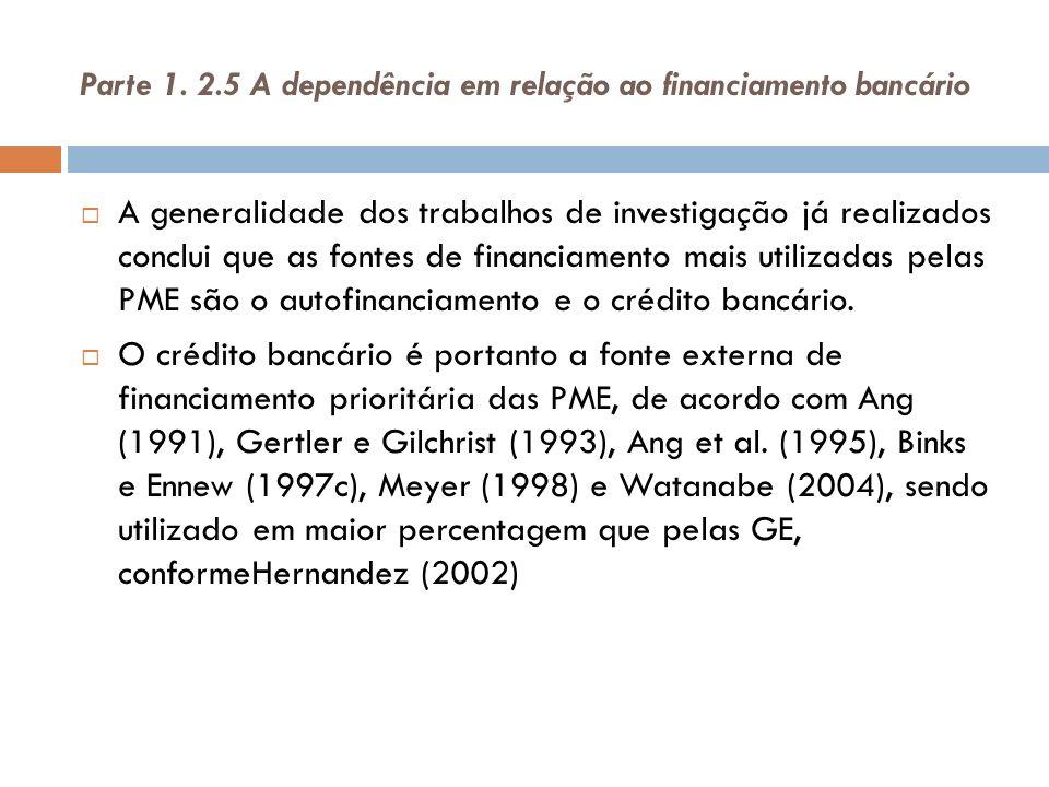 Parte 1. 2.5 A dependência em relação ao financiamento bancário A generalidade dos trabalhos de investigação já realizados conclui que as fontes de fi