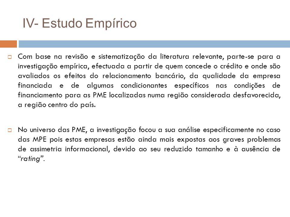 IV- Estudo Empírico Com base na revisão e sistematização da literatura relevante, parte-se para a investigação empírica, efectuada a partir de quem co