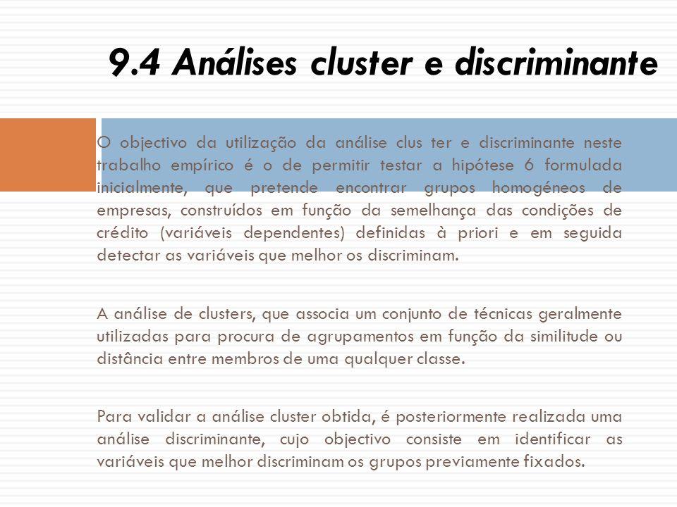 O objectivo da utilização da análise clus ter e discriminante neste trabalho empírico é o de permitir testar a hipótese 6 formulada inicialmente, que