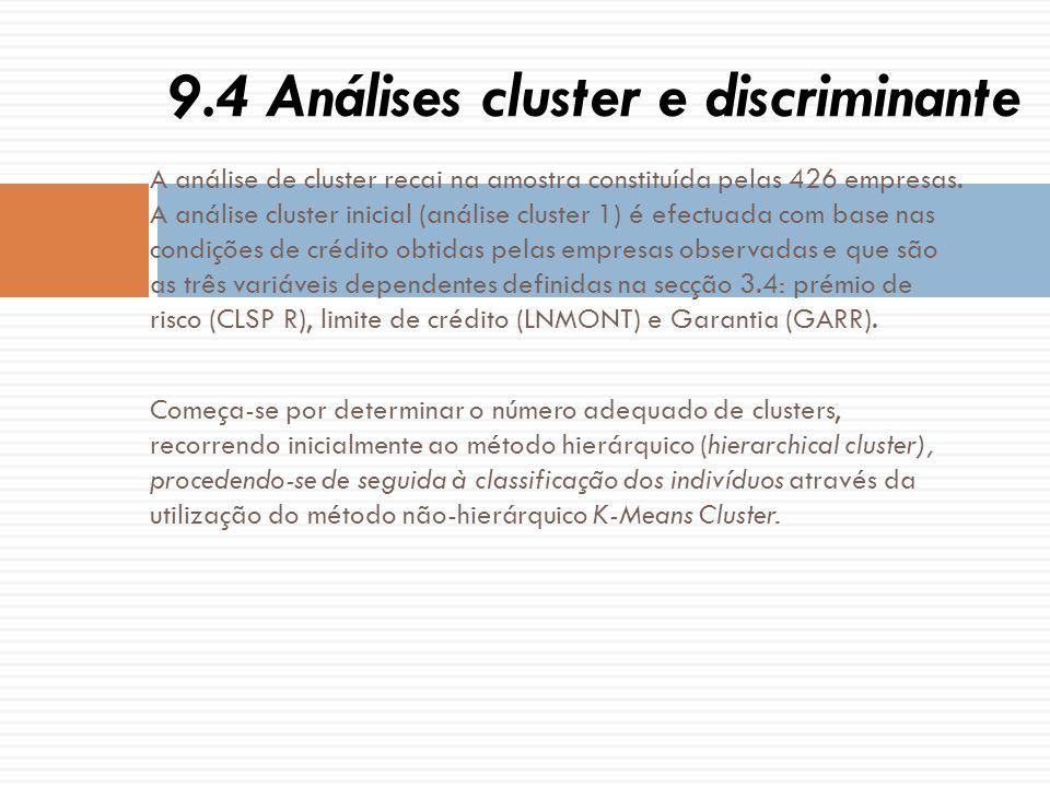 A análise de cluster recai na amostra constituída pelas 426 empresas. A análise cluster inicial (análise cluster 1) é efectuada com base nas condições