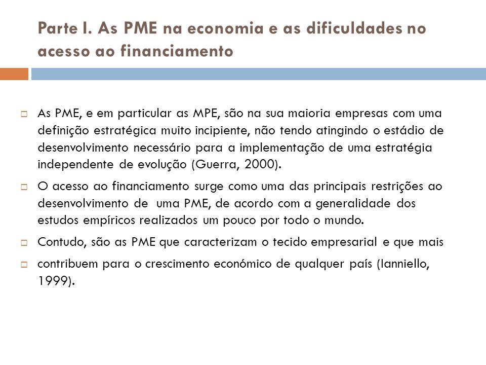 Parte I. As PME na economia e as dificuldades no acesso ao financiamento As PME, e em particular as MPE, são na sua maioria empresas com uma definição