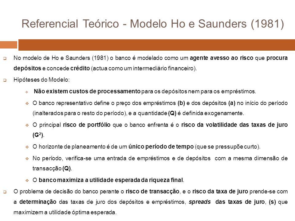 No modelo de Ho e Saunders (1981) o banco é modelado como um agente avesso ao risco que procura depósitos e concede crédito (actua como um intermediário financeiro).