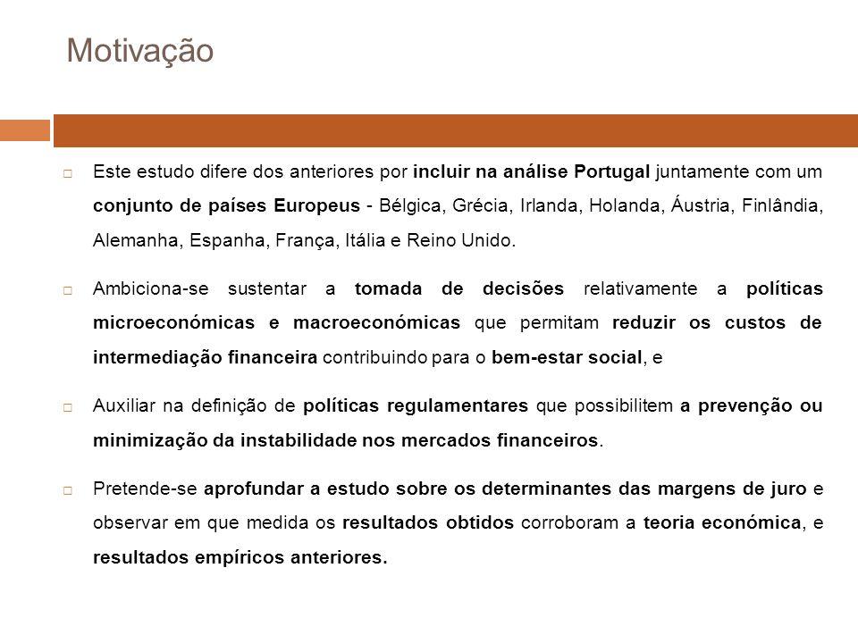 Motivação Este estudo difere dos anteriores por incluir na análise Portugal juntamente com um conjunto de países Europeus - Bélgica, Grécia, Irlanda, Holanda, Áustria, Finlândia, Alemanha, Espanha, França, Itália e Reino Unido.