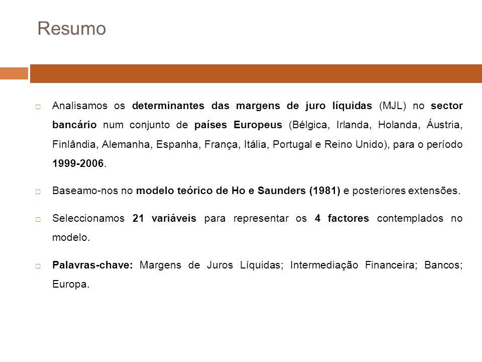 Resumo Analisamos os determinantes das margens de juro líquidas (MJL) no sector bancário num conjunto de países Europeus (Bélgica, Irlanda, Holanda, Áustria, Finlândia, Alemanha, Espanha, França, Itália, Portugal e Reino Unido), para o período 1999-2006.
