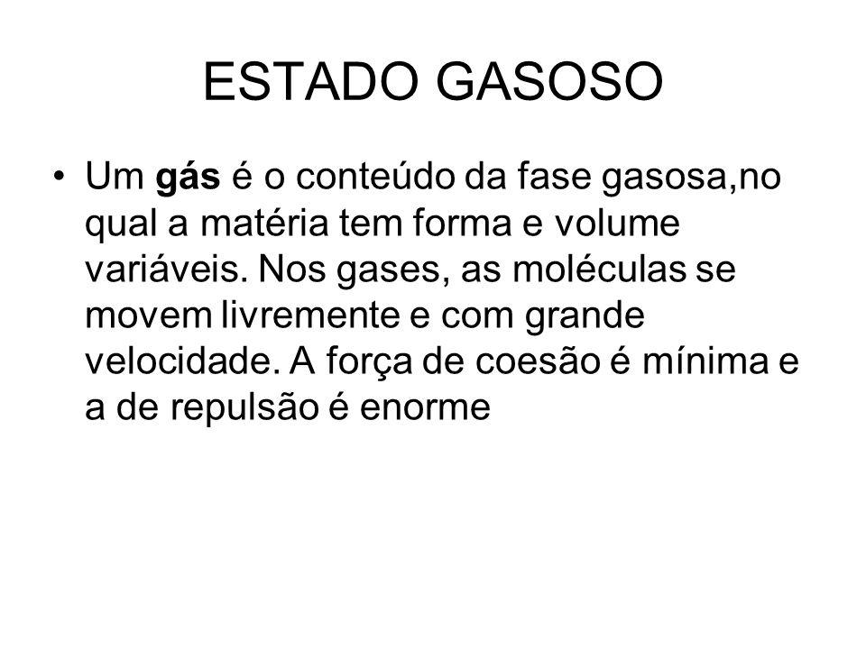 ESTADO GASOSO Um gás é o conteúdo da fase gasosa,no qual a matéria tem forma e volume variáveis. Nos gases, as moléculas se movem livremente e com gra