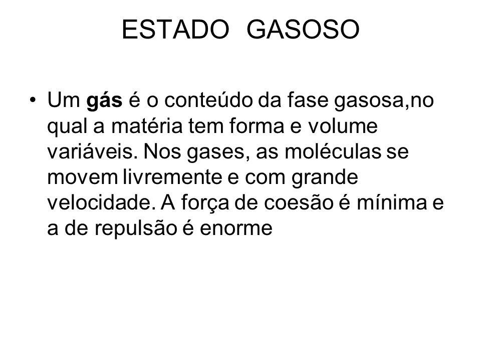 ESTADO GASOSO Um gás é o conteúdo da fase gasosa,no qual a matéria tem forma e volume variáveis.