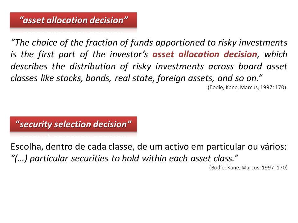 Escolha, dentro de cada classe, de um activo em particular ou vários: (…) particular securities to hold within each asset class.
