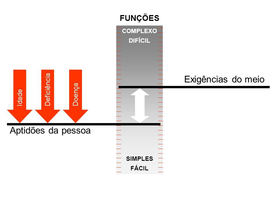 Aptidões da pessoa Exigências do meio COMPLEXO DIFÍCIL SIMPLES FÁCIL Idade DeficiênciaDoença FUNÇÕES