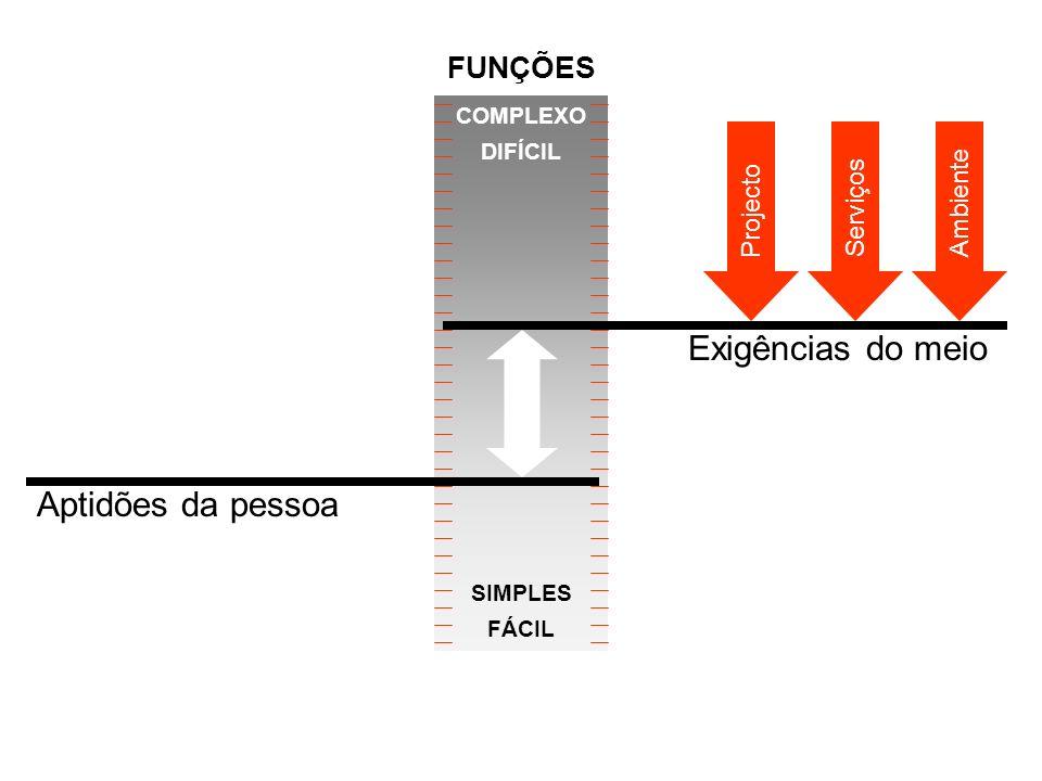 Aptidões da pessoa COMPLEXO DIFÍCIL SIMPLES FÁCIL Projecto ServiçosAmbiente Exigências do meio FUNÇÕES