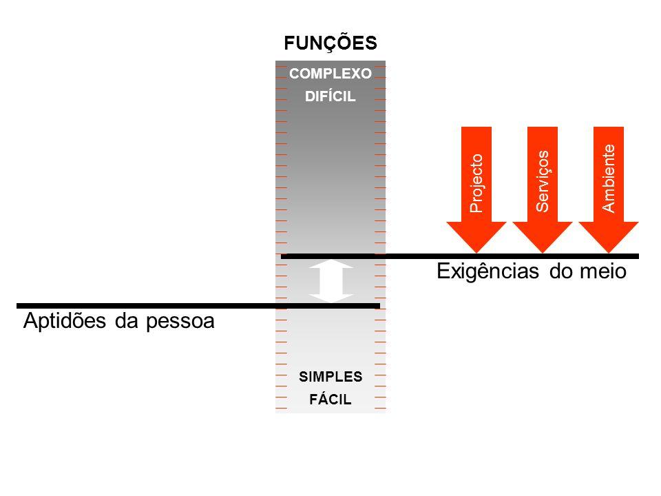 Aptidões da pessoa COMPLEXO DIFÍCIL SIMPLES FÁCIL Projecto ServiçosAmbiente Exigências do meio