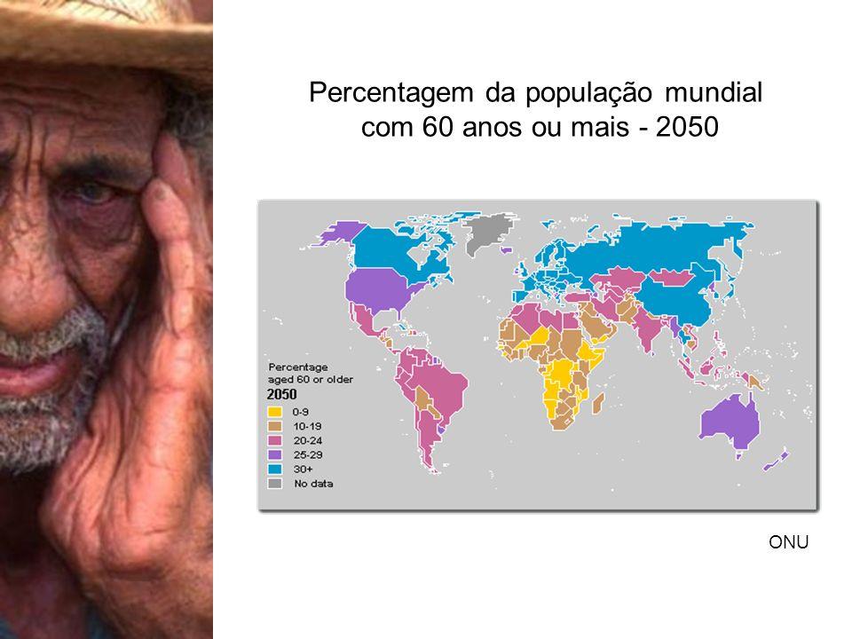 Percentagem da população mundial com 60 anos ou mais - 2050 ONU