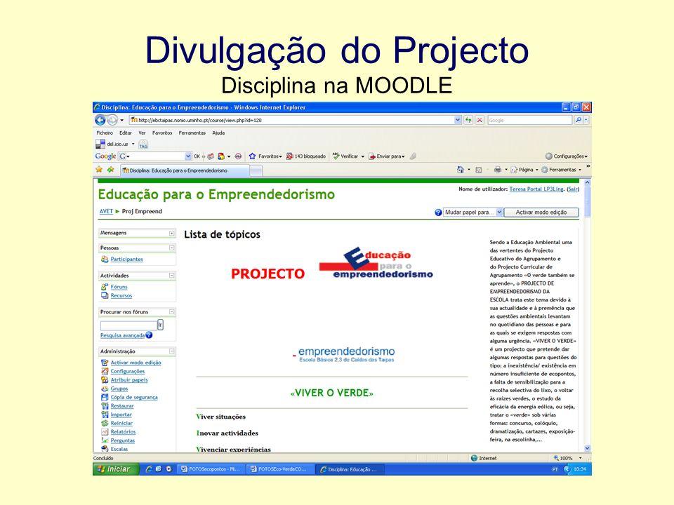 Divulgação do Projecto Disciplina na MOODLE