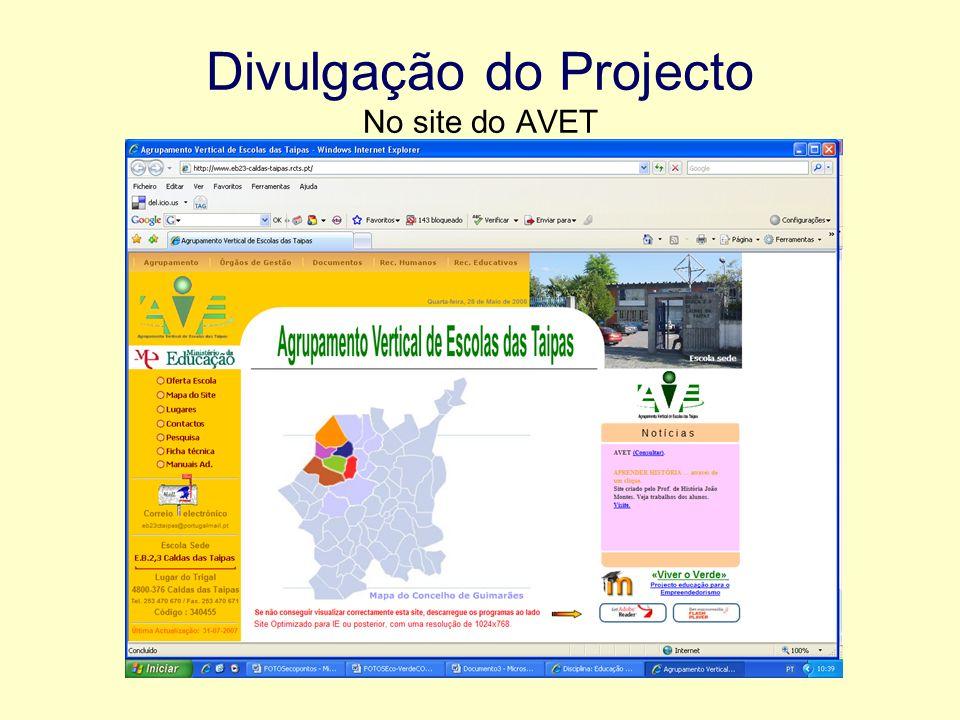 Divulgação do Projecto No site do AVET