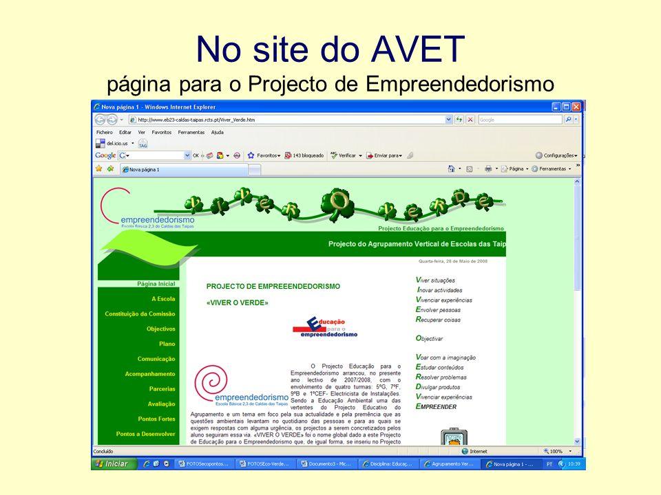 No site do AVET página para o Projecto de Empreendedorismo