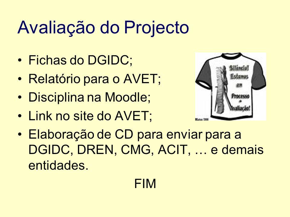 Avaliação do Projecto Fichas do DGIDC; Relatório para o AVET; Disciplina na Moodle; Link no site do AVET; Elaboração de CD para enviar para a DGIDC, DREN, CMG, ACIT, … e demais entidades.