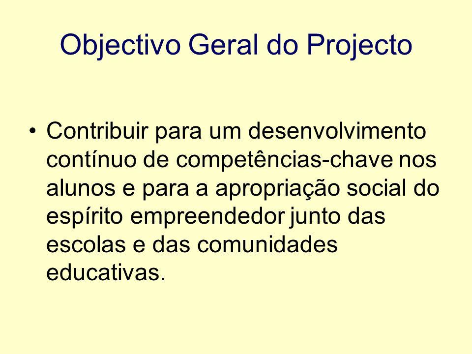 Objectivo Geral do Projecto Contribuir para um desenvolvimento contínuo de competências-chave nos alunos e para a apropriação social do espírito empreendedor junto das escolas e das comunidades educativas.