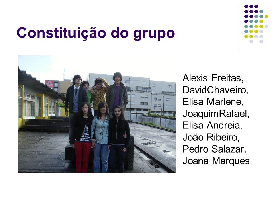 Constituição do grupo Alexis Freitas, DavidChaveiro, Elisa Marlene, JoaquimRafael, Elisa Andreia, João Ribeiro, Pedro Salazar, Joana Marques