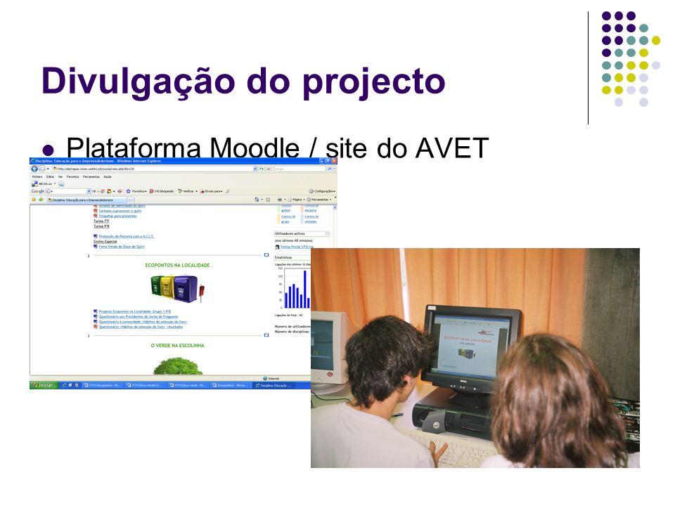 Divulgação do projecto Plataforma Moodle / site do AVET