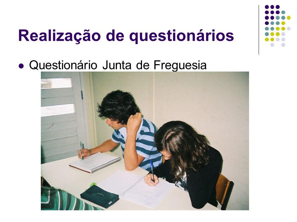 Realização de questionários Questionário Junta de Freguesia