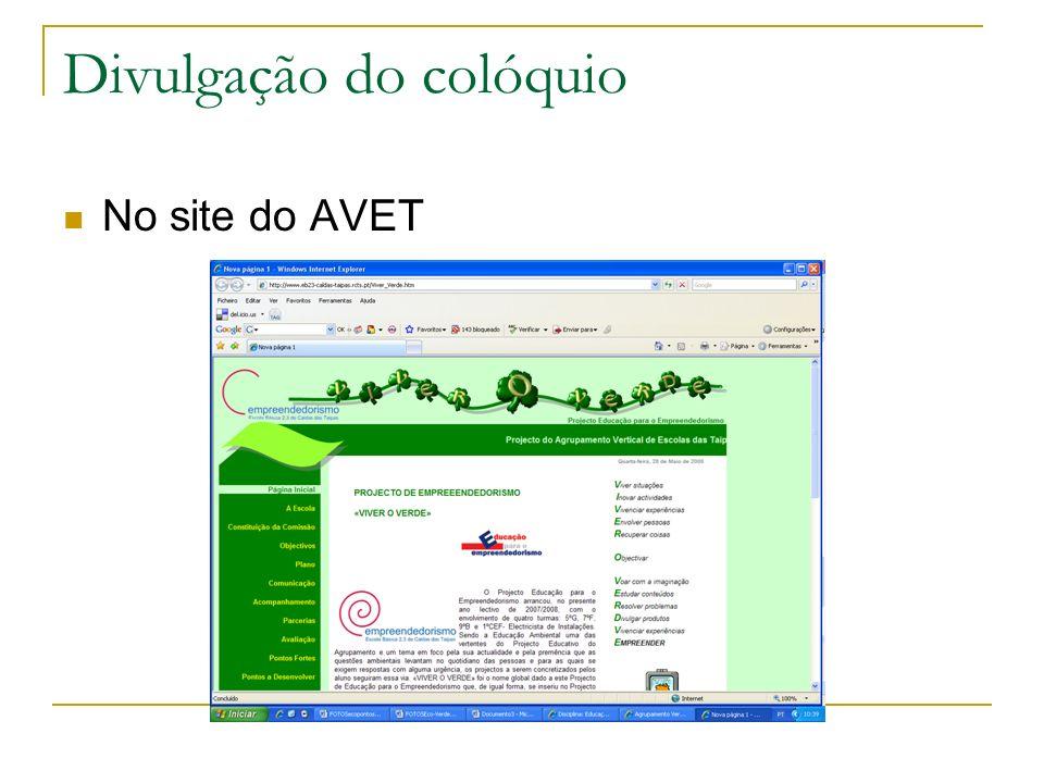 Divulgação do colóquio No site do AVET