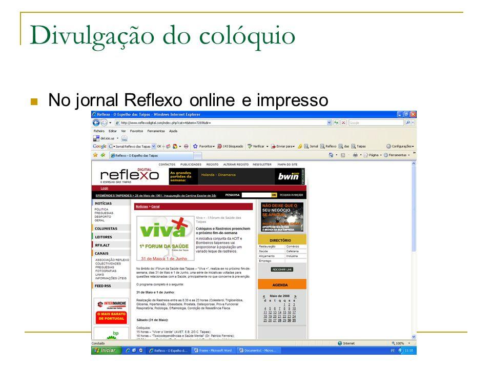Divulgação do colóquio No jornal Reflexo online e impresso