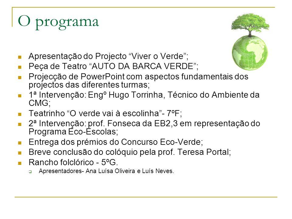 O programa Apresentação do Projecto Viver o Verde; Peça de Teatro AUTO DA BARCA VERDE; Projecção de PowerPoint com aspectos fundamentais dos projectos