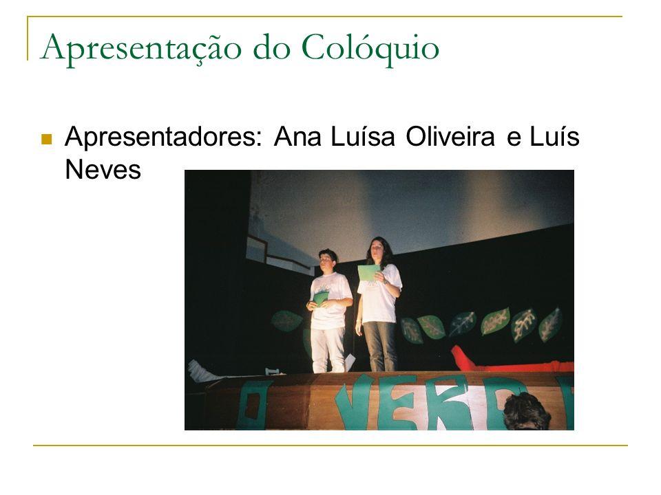 Apresentação do Colóquio Apresentadores: Ana Luísa Oliveira e Luís Neves