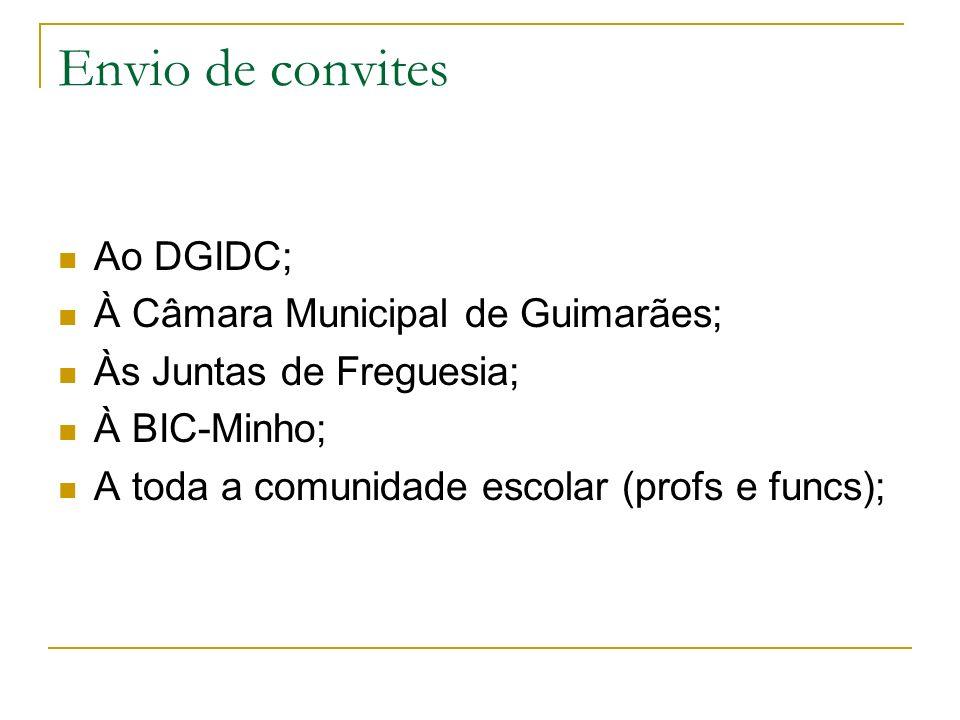 Envio de convites Ao DGIDC; À Câmara Municipal de Guimarães; Às Juntas de Freguesia; À BIC-Minho; A toda a comunidade escolar (profs e funcs);