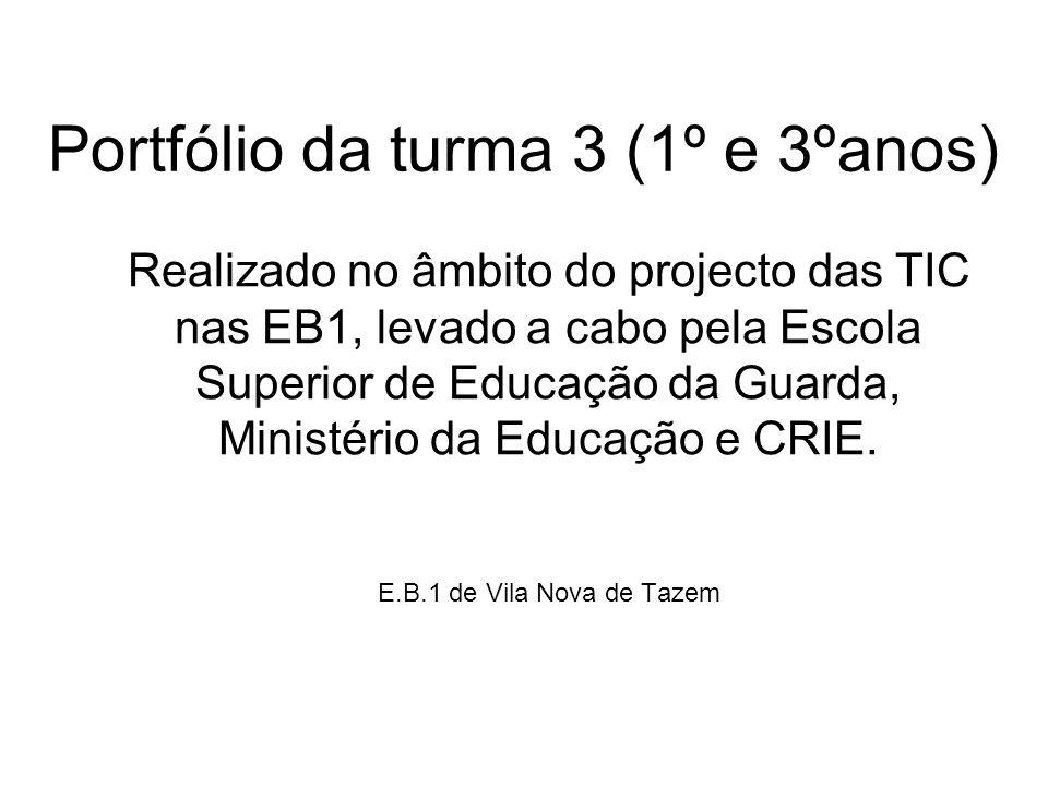 Portfólio da turma 3 (1º e 3ºanos) Realizado no âmbito do projecto das TIC nas EB1, levado a cabo pela Escola Superior de Educação da Guarda, Ministér