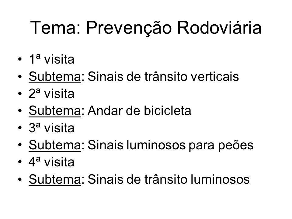 Tema: Prevenção Rodoviária 1ª visita Subtema: Sinais de trânsito verticais 2ª visita Subtema: Andar de bicicleta 3ª visita Subtema: Sinais luminosos p