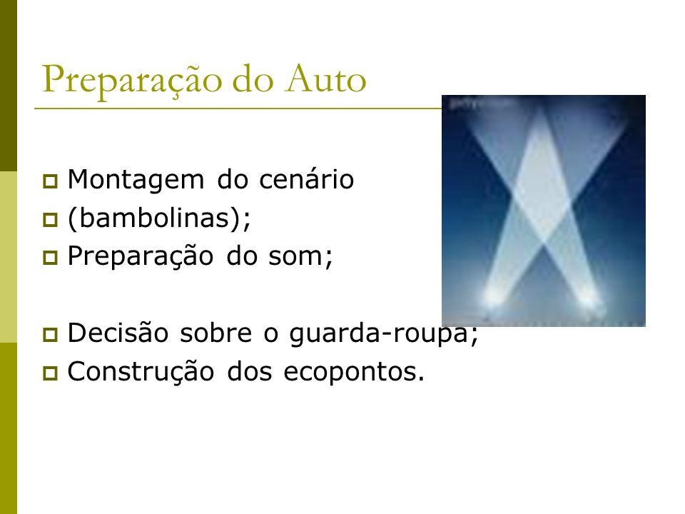 Preparação do Auto Montagem do cenário (bambolinas); Preparação do som; Decisão sobre o guarda-roupa; Construção dos ecopontos.